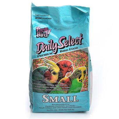 Pretty Bird International Presents Daily Select Small Small-2lb. Our Original Multicolored, Extruded Bird Food Containing 14% Protein and 5% Fat. Sized for Budgies, Lovebirds, Cockatiels, Small Conures and Other Similarly Sized Hookbills. Packaged in 2 Lb. Bags Manufactured 6 Per Case [26980]