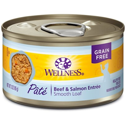 Wellpet Presents Wellness Beef and Salmon Formula Canned Cat Food 3oz Cans-Case of 24. All Natural Surf and Turf for Healthy Cats WellnessS Beef and Salmon Recipe Provides Two Sources of Protein to your Cat, with a Taste that sheLl Savor. They Use High Quality Beef thatS Free of Added Growth Hormones and Steroids. And Omega Fatty Acids from the Salmon will Keep her Coat Shining Naturally. Other Whole Ingredients Provide a Balanced Diet for your Cat. Each can is Packed with Fruit and Veggies for Optimum Vitamin and Antioxidant Content. Whole Cranberries and Blueberries are Included to Promote Urinary Tract Health. And Taurine, an Essential Amino Acid for Felines, is Added for Normal Eye and Heart Function. You WonT Find Unnecessary Sugars, Fillers, Artificial Preservatives, and Meat by-Products Crowding the Ingredients Label - just Natural Food and Vitamins for a Healthy, Happy Cat. [27020]