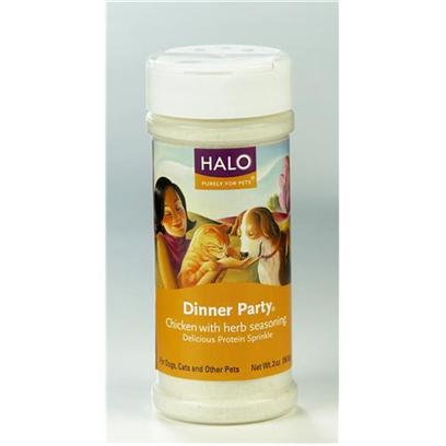 Halo Presents Halo Treats Dinner Party Chicken & Herbs for Dogs Cats 2oz. Analysis Crude Protein (Minimum) 80.00% Crude Fat (Minimum) 3.00% Crude Fiber (Maximum) 2.00% Moisture (Maximum) 4.00% [27024]