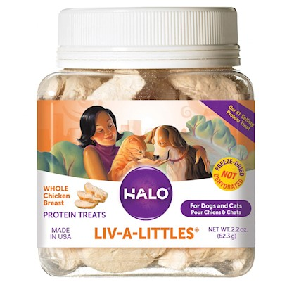 Halo Presents Halo Liv-a-Littles Freeze Dried Protein Treats-Chicken Breast 1.1oz Pouch. 100% Chicken Liv-a-Littles! Dogs and Cats Love, and Benefit from the High Quality Protein in Halo Liv-a-Littles 100% Chicken Breast Protein Treats. Tasty, Healthy, Bitesize, Pet Treats with Natural Ingredients, Nutritional Calories and Minus the Corn, Fillers, Added Salt, Sugar or Molasses, that Other Treats Contain. Let your Dogs and Cats Live a Little, with Halo Liv-a-Littles Chicken Breast Protein Treats. [27030]