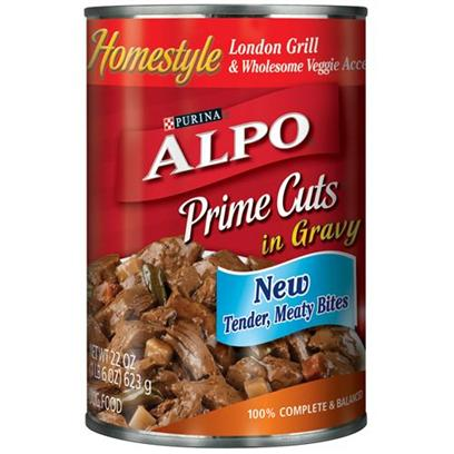 Nestle Purina Petcare Presents Alpo Prime Cuts London Grill Canned Dog Food 22oz Cans/Case of 12. Analysis Crude Protein (Minimum)8.00% Crude Fat (Minimum)3.00% Crude Fiber (Maximum)1.50% Moisture (Maximum)82.00% [27105]
