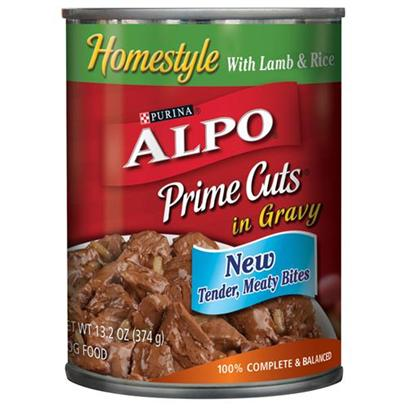 Nestle Purina Petcare Presents Alpo Prime Cuts Lamb &amp; Rice Canned Dog Food 22oz Cans/Case of 12. Analysis Crude Protein (Minimum)8.00% Crude Fat (Minimum)3.00% Crude Fiber (Maximum)1.50% Moisture (Maximum)82.00% [27108]