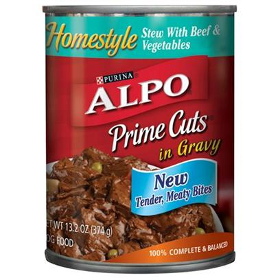 Nestle Purina Petcare Presents Alpo Prime Cuts Beef Stew Canned Dog Food 22oz Cans/Case of 12. Analysis Crude Protein (Min)7.00% Crude Fat (Min)3.00% Crude Fiber (Max)1.50% Moisture (Max)82.00% [27110]
