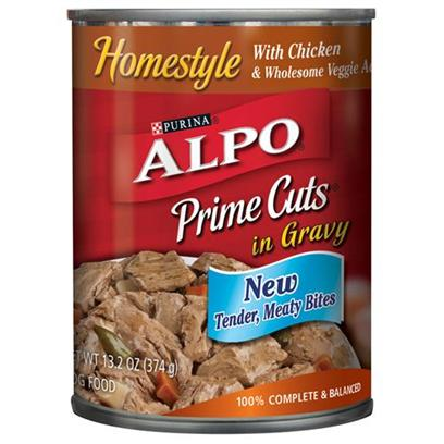 Nestle Purina Petcare Presents Alpo Prime Cuts Chicken Canned Dog Food 22oz Cans/Case of 12. Analysis Crude Protein (Min.) 8.00% Crude Fat (Min.) 3.00% Crude Fiber (Max.) 1.50% Moisture (Max.) 82.00% [27112]