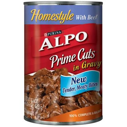 Nestle Purina Petcare Presents Alpo Prime Cuts Beef Canned Dog Food 22oz Cans/Case of 12. Analysis Crude Protein (Minimum)8.00% Crude Fat (Minimum)3.00% Crude Fiber (Maximum)1.50% Moisture (Maximum)82.00% [27113]