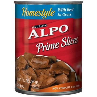 Nestle Purina Petcare Presents Alpo Prime Slices Beef Canned Dog Food 22oz Cans/Case of 12. Analysis Crude Protein (Min)8.00% Crude Fat (Min)3.00% Crude Fiber (Max)1.50% Moisture (Max)82.00% [27116]