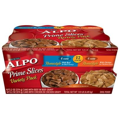 Nestle Purina Petcare Presents Alpo Prime Slices Beef &amp; Chicken Variety Pack Canned Dog Food 13.2oz Cans/Case of 12. Analysis see Individual Product Details for Guaranteed Analysis. [27127]