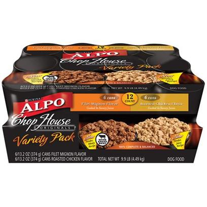 Nestle Purina Petcare Presents Alpo Chop House Canned Original Variety Pack Dog Food 13.2oz Cans/Variety of 12. Analysis see Individual Product Details for Guaranteed Analysis. [27132]