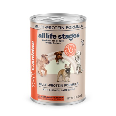 Canidae Presents Canidae all Life Stages Chicken Lamb &amp; Fish Formula Canned Dog Food 13oz Cans/Case of 12. Analysis Crude Protein (Min)9.00% Crude Fat (Min)6.00% Crude Fiber (Max)1.50% Moisture (Max)78.00% Linoleic Acid (Min)1.00% Calcium (Min)0.25% Phosphorus (Min)0.20% Vitamin E(Min)125.00 Iu/Kg Alpha Linolenic Acid (Omega 3) (Min.) 0.20% Ph 6.0 [27138]