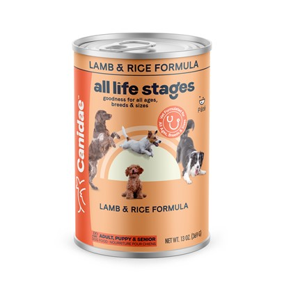 Canidae Presents Canidae all Life Stages Lamb and Rice Formula Canned Dog Food 13oz Cans/Case of 12. Analysis Crude Protein (Min.) 9.50% Crude Fat (Min.) 6.50% Crude Fiber (Max.) 1.50% Moisture (Max.) 78.00% Linoleic Acid (Omega 6) (Min.) 1.00% Calcium (Min.) 0.25% Phosphorus (Min.) 0.20% Vitamin E (Min.) 125.00 Iu/Kg Alpha Linolenic Acid (Omega 3) (Min.) 0.20% Ph 6.0 [27142]