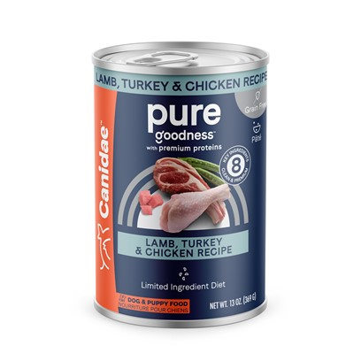 Canidae Presents Canidae all Life Stages-Grain Free Chicken Turkey Lamb and Fish Canned Dog Food 13oz Cans/Case of 12. All Natural for Every Dog Canidae all Life Stages Formula Canned Dog Food is an all Natural Dog Formula, Designed for Dogs of all Ages and Lifestyles. Made with Usda Approved Chicken, Turkey, Lamb and Fish, and a Balanced Nutritious Mix of Fruits and Vegetables. Your DogS Health is in your Hands, so Choose the Formula Designed to Help Every Dog, Canidae all Life Stages Formula Canned Dog Food. [27148]