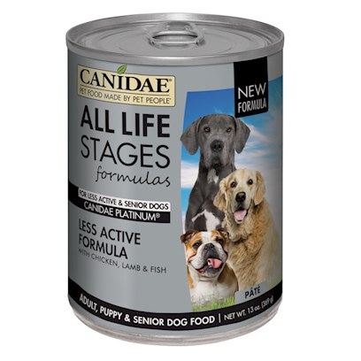 Canidae Presents Canidae Platinum Senior and Overweight Dog Food Formula-Chicken Lamb &amp; Fish 13oz-Case of 12. Analysis Crude Protein (Min.) 6.00% Crude Fat (Min.) 4.50% Crude Fiber (Max.) 2.00% Moisture (Max.) 75.00% Linoleic Acid (Omega 6) (Min.) 1.00% Calcium (Min.) 0.15% Phosphorus (Min.) 0.13% Vitamin E (Min) 125.00 Iu/Kg Alpha Linolenic Acid (Omega 3) (Min) 0.20% Glucosamine (Min.) 150.00 Mg/Kg Condroitin Sulfate (Min.) 100.00 Mg/Kg Ph 6.0 [27149]