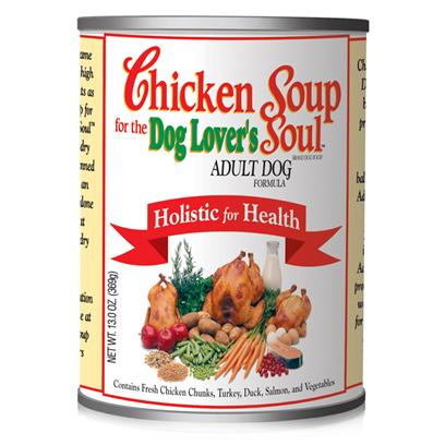 Diamond Pet Foods Presents Chicken Soup Brand for Dog Lovers-Adult Food 13oz Cans/Case of 24. Analysis Crude Protein 8.0% Minimum Crude Fat 4.0% Minimum Crude Fiber 1.0% Maximum Moisture 78.0% Maximum Calorie Content 1,139 Kcal/Kg (420 Kcal/can) Calculated Metabolizable Energy. [27152]