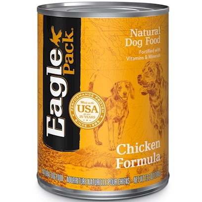 Wellpet Presents Eagle Pack Natural Dog Food-Canned Chicken Formula for 13.2oz Cans-Case of 12. Analysis Crude Protein (Min.) 9.00% Crude Fat (Min.) 6.00% Crude Fiber (Max.) 1.50% Moisture (Max.) 78.00% Calcium (Min.) 1.00% Phosphorus (Min.) 0.80% Vitamin E (Min.) 50 Iu/Kg [27155]
