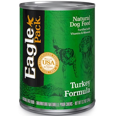Wellpet Presents Eagle Pack Natural Dog Food Canned Turkey Formula for 13.2oz Cans/Case of 12. Eagle Pack Natural Dog Food, Canned Turkey Formula for Dogs, your Dog will Love the Taste! [27156]