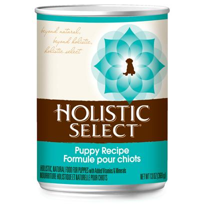 Wellpet Presents Holistic Select Puppy Recipe Canned Dog Food 13oz Cans/Case of 12. Holistic Select Puppy Canned Dog Food is Complete and Balanced, with Added Vitamins and Minerals. Our Unique Canned Puppy Food Recipes are Made Up of Premium Proteins, Wholesome Grains and a Healthy Medley of Vegetables to Deliver Optimum Natural Nutrition for Daily Whole-Body Health. [27163]
