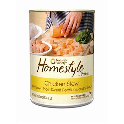 Nature's Variety Presents Nature's Variety Prairie Homestyle Chicken Stew Canned Dog Food 13.2oz Cans/Case of 12. Nature's Variety Prairie Homestyle Chicken Stew Canned Dog Food. Wholesome &amp; Nutritious, with Real Chicken, Brown Rice, Sweet Potatoes, and Spinach. [27168]