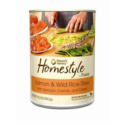 Nature's Variety Presents Nature's Variety Prairie Homestyle Salmon & Wild Rice Stew Canned Dog Food 13.2oz Cans/Case of 12. Nature's Variety Prairie Homestyle Salmon & Wild Rice Stew Canned Dog Food, Natural and Holistic Nutrition for Dogs. [27169]
