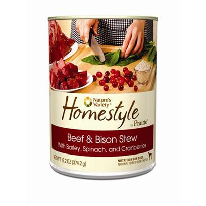 Nature's Variety Presents Nature's Variety Prairie Homestyle Beef & Bison Stew Canned Dog Food 13.2oz Cans/Case of 12. Nature's Variety Prairie Homestyle Beef & Bison Stew Canned Dog Food. Wholesome & Nutritious, with Real Beef, Bison, Barley, Spinach, and Cranberries. [27170]
