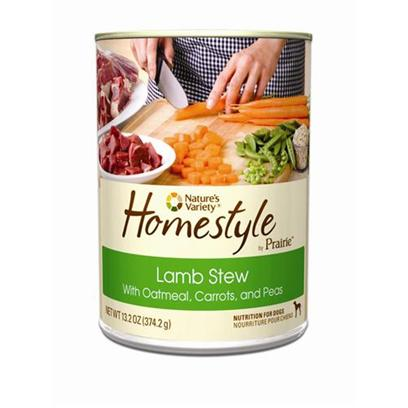 Nature's Variety Presents Nature's Variety Homestyle Prairie Lamb Stew Canned Dog Food 13.2oz Cans/Case of 12. Nature's Variety Homestyle Prairie Lamb Stew Canned Dog Food. Wholesome & Nutritious, with Real Lamb, Oatmeal, Carrots, and Peas. [27171]