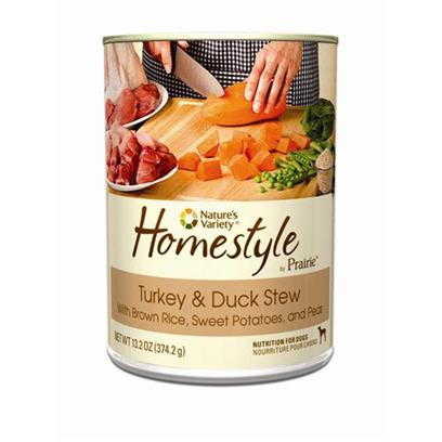 Nature's Variety Presents Nature's Variety Prairie Homestyle Turkey &amp; Duck Stew Canned Dog Food 13.2oz Cans/Case of 12. Nature's Variety Prairie Homestyle Turkey &amp; Duck Stew Canned Dog Food, a Natural and Holistic Nutrition for Dogs. [27173]