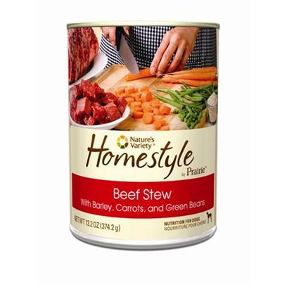 Nature's Variety Presents Nature's Variety Prairie Homestyle Beef Stew Canned Dog Food 13.2oz Cans/Case of 12. No Corn, no Wheat, no Soy all Natural with Essential Vitamins and Minerals - Complete and Balanced for all Life Stages and all Breeds Made in the Usa Chunky Stew in Gravy  Guaranteed to Entice a Picky Eater Omega Fatty Acids for Healthy Skin and Coat and is Proven to Provide Great Taste and Nutrition [27174]