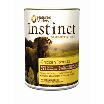 Nature's Variety Presents Nature's Variety Instinct Grain Free Chicken Canned Dog Food 13.2oz Cans/Case of 12. Nature's Variety Instinct Grain Free Chicken Canned Dog Food. Complete and Balanced for all Life Stages and all Breeds [27175]