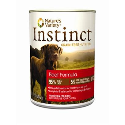 Nature's Variety Presents Nature's Variety Instinct Grain Free Beef Canned Dog Food 13.2oz Cans/Case of 12. Nature's Variety Instinct Grain Free Beef Canned Dog Food. Complete and Balanced for all Life Stages and all Breeds [27177]