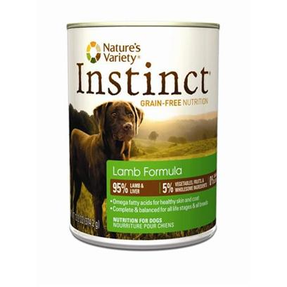 Nature's Variety Presents Nature's Variety Instinct Grain Free Lamb Canned Dog Food 13.2oz Cans/Case of 12. Nature's Variety Instinct Grain Free Lamb Canned Dog Food. Instinct Foods are Grain-Free and Gluten-Free  Perfect for Satisfying your DogS Carnivorous Cravings and Nutritional Needs. Instinct is also Highly Digestible and Nutritionally Dense, Making it a Natural Solution for Pets with Allergies or Weight Issues. Feed Instinctively to Give your Pet the Nourishment and Energy to Enjoy Life Every Day. [27179]