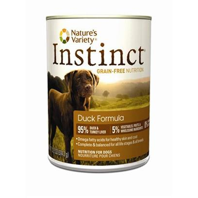 Nature's Variety Presents Nature's Variety Instinct Grain Free Duck Formula Canned Dog Food 13.2oz Cans/Case of 12. Pure, Instinctive Nutrition for your Dog Instinct Foods are Grain-Free and Gluten-Free  Perfect for Satisfying your DogS Carnivorous Cravings and Nutritional Needs. Instinct is also Highly Digestible and Nutritionally Dense, Making it a Natural Solution for Pets with Allergies or Weight Issues. Feed Instinctively to Give your Pet the Nourishment and Energy to Enjoy Life Every Day. Just Like your PetS Instinctive Diet, Instinct Cans are 95% Meat and Liver, 5% Vegetables, Fruits and Other Wholesome Ingredients, and 0% Grain and Gluten. Every Ingredient is Chosen with Care for the Health and Happiness of your Furry Friend. Our Foods are 100% Free of Corn, Wheat, Soy, Chemical Preservatives, and Artificial Colors &amp; Flavors. Each Diet is Rich in Meat, Poultry or Fish Proteins to Give your Dogs Everything they Need for a Long and Happy Life with You. Every can is Complete and Balanced for all Life Stages and all Breeds. Great for Mixing with Instinct Kibble! Instinct is Made by Nature's Variety, a Natural Pet Food Company Located in Lincoln, Nebraska. Our Team is Passionate About Providing Proper, Holistic Nutrition for your Beloved Dog. Instinct Products are Designed so you can Feed Canned and Kibble Food in a Variety of Flavors to your Pet. We are Proud Pet Parents, just Like You! So we Understand that your Pet has a Special Place in your Family, in your Life, and in your Heart. Key Benefits  High Protein, Grain Free Canned Dog Food that Provides the Nutrition Dogs Need in a Great Tasting Flavor Dogs Love  Superior Food for your Dog  Buy Quality and Feed Less  may Provide Relief from Food Allergies and Helps your Dog Reach and Maintain an Ideal Weight Along with Proper Portions and Exercise  Perfect for Small to Large Dogs and Complete and Balanced for all Life Stages and all Breeds  Made in the Usa [27181]