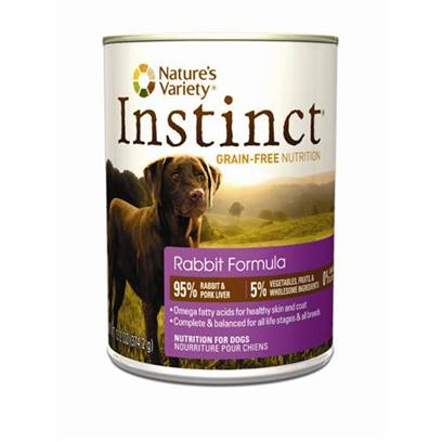 Nature's Variety Presents Nature's Variety Instinct Grain Free Rabbit Formula Canned Dog Food 13.2oz Cans/Case of 12. Pure, Instinctive Nutrition for your Dog Instinct Foods are Grain-Free and Gluten-Free  Perfect for Satisfying your DogS Carnivorous Cravings and Nutritional Needs. Instinct is also Highly Digestible and Nutritionally Dense, Making it a Natural Solution for Pets with Allergies or Weight Issues. Feed Instinctively to Give your Pet the Nourishment and Energy to Enjoy Life Every Day. Just Like your PetS Instinctive Diet, Instinct Cans are 95% Meat and Liver, 5% Vegetables, Fruits and Other Wholesome Ingredients, and 0% Grain and Gluten. Every Ingredient is Chosen with Care for the Health and Happiness of your Furry Friend. Our Foods are 100% Free of Corn, Wheat, Soy, Chemical Preservatives, and Artificial Colors &amp; Flavors. Each Diet is Rich in Meat, Poultry or Fish Proteins to Give your Dogs Everything they Need for a Long and Happy Life with You. Every can is Complete and Balanced for all Life Stages and all Breeds. Great for Mixing with Instinct Kibble! Instinct is Made by Nature's Variety, a Natural Pet Food Company Located in Lincoln, Nebraska. Our Team is Passionate About Providing Proper, Holistic Nutrition for your Beloved Dog. Instinct Products are Designed so you can Feed Canned and Kibble Food in a Variety of Flavors to your Pet. We are Proud Pet Parents, just Like You! So we Understand that your Pet has a Special Place in your Family, in your Life, and in your Heart. Key Benefits  High Protein, Grain Free Canned Dog Food that Provides the Nutrition Dogs Need in a Great Tasting Flavor Dogs Love  Superior Food for your Dog  Buy Quality and Feed Less  may Provide Relief from Food Allergies and Helps your Dog Reach and Maintain an Ideal Weight Along with Proper Portions and Exercise  Perfect for Small to Large Dogs and Complete and Balanced for all Life Stages and all Breeds  Made in the Usa [27183]