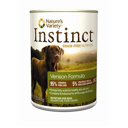Nature's Variety Presents Nature's Variety Instinct Grain Free Venison Canned Dog Food 13.2oz Cans/Case of 12. Grain-Free Canned Dog Food (no Fillers or Soy) - Proven to Provide Great Taste and Nutrition Perfect for Small to Large Dogs and Complete and Balanced for all Life Stages and all Breeds Made in the Usa Helps your Dog Reach and Maintain an Ideal Weight Along with Proper Portions and Exercise may Provide Relief from Most Food Allergy Symptoms [27185]