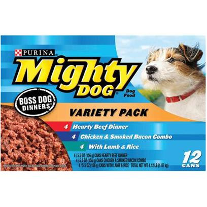 Nestle Purina Petcare Presents Mighty Dog Boss Dinners Variety Pack-Canned Food 12 Cans. Mighty Dog Boss Dinners Variety Pack Canned Dog Food, your Dog will Love this Classic Meaty Meal Made with Real Beef. [27188]