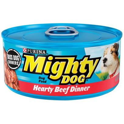 Nestle Purina Petcare Presents Mighty Dog Canned Hearty Beef Dinner for 5.5oz Cans/Case of 24. Mighty Dog Canned Hearty Beef Dinner for Dogs, a Hearty Meal with Big, Meaty Flavor and a Finely Ground Texture. [27190]