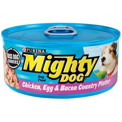 Nestle Purina Petcare Presents Mighty Dog Chicken Egg and Bacon Country Platter Canned Food 5.5oz Cans/Case of 24. Analysiscrude Protein (Minimum)10.00%Crude Fat (Minimum)6.00%Crude Fiber (Maximum)1.50%Moisture (Maximum)78.00% [27194]