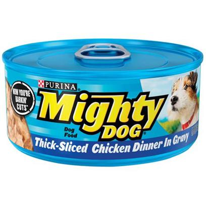 Nestle Purina Petcare Presents Mighty Dog Think-Sliced Chicken Dinner in Gravy Canned Food 5.5oz Cans/Case of 24. Mighty Dog Think-Sliced Chicken Dinner in Gravy Canned Dog Food, Tender Cuts Served with Mouthwatering Gravy. This Yummy Meal is Made with Real Chicken in Hearty, Bite-Sized Pieces. It'S Sure to be a Favorite of your Mighty® Dog. [27196]