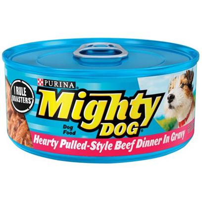 Nestle Purina Petcare Presents Mighty Dog Hearty Pulled-Style Beef Dinner in Gravy Canned Food 5.5oz Cans/Case of 24. Mighty Dog Hearty Pulled-Style Beef Dinner in Gravy Canned Dog Food, Savory, Shredded Bites with Mouthwatering Gravy. [27199]