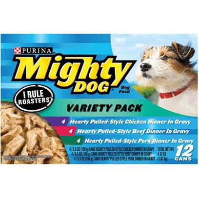 Nestle Purina Petcare Presents Mighty Dog Hearty Pulled-Style Variety Pack Canned Food 5.5oz Cans/Variety of 12. Mighty Dog Hearty Pulled-Style Variety Pack Canned Dog Food, a Delicious, Slow-Cooked Meal Made with Chicken will Deliver a Taste your Dog is Sure to Love. [27202]