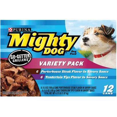 Nestle Purina Petcare Presents Mighty Dog Go-Getter Grillers Variety Pack Canned Food 12 5.5oz Cans-6 of Each Tenderloin Porterhouse. Analysissee Individual Product Details for Guaranteed Analysis. [27204]