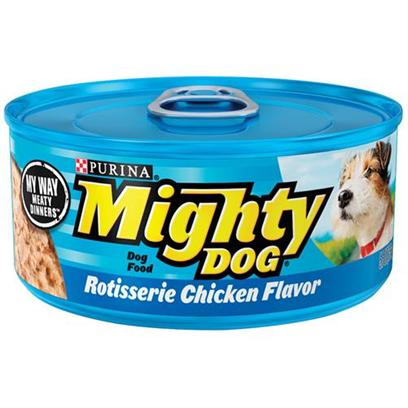 Nestle Purina Petcare Presents Mighty Dog Canned Rotisserie Chicken Food 5.5oz Cans/Case of 24. Mighty Dog Canned Rotisserie Chicken Canned Dog Food, Tempting Meals Made with a Finely Ground Texture and Tender Chunks. [27206]