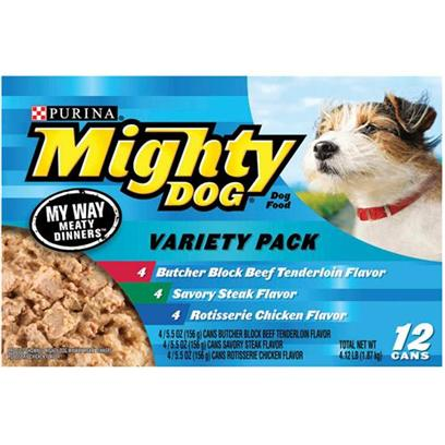 Nestle Purina Petcare Presents Mighty Dog Canned my Way Meaty Dinners Variety Pack for 5.5oz Cans/Variety of 12. Mighty Dog Canned my Way Meaty Dinners Variety Pack for Dogs, Three Flavors your Dog will Love. [27207]