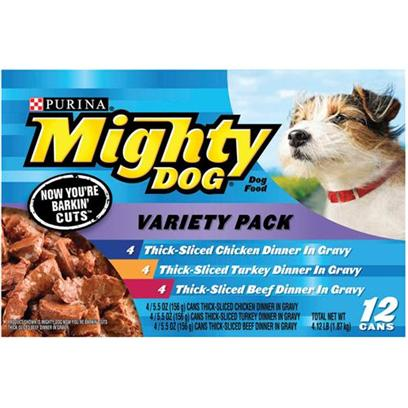 Nestle Purina Petcare Presents Mighty Dog Thick-Sliced Variety Pack for 5.5oz Cans/Variety of 12. Mighty Dog Thick-Sliced Variety Pack for Dogs, Three Flavors your Dog is Sure to Love! [27209]