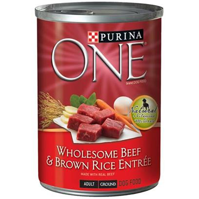 Nestle Purina Petcare Presents Purina One-Beef and Brown Rice Entre Canned Dog Food 13oz Cans/Case of 12. Purina One Wholesome Entres are Nutritionally Complete for Adult Dogs, so you can Feel Confident You're Providing the Nutrition your Dog Needs to Help Promote a Lifetime of Good Health, as Well as the Variety he Loves to Help Keep Him Happy and Satisfied. [27212]