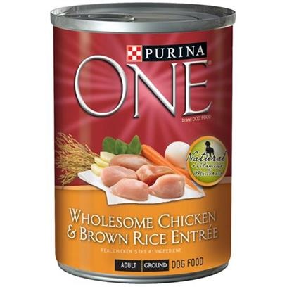 Nestle Purina Petcare Presents Purina One-Chicken and Brown Rice Entre Canned Dog Food 13oz Cans/Case of 12. We Believe in the Power of Real Ingredients. And in the Power of Great Taste. We Know your Dog does, Too, and that's Why We've Added Great-Tasting Gravy to our Purina One Wholesome Entres Tender Cuts in Gravy.Watch your Dog's Eyes Light Up when you Serve Chicken &amp; Brown Rice Entre, Made with Complete Nutrition for Adult Dogs. [27213]