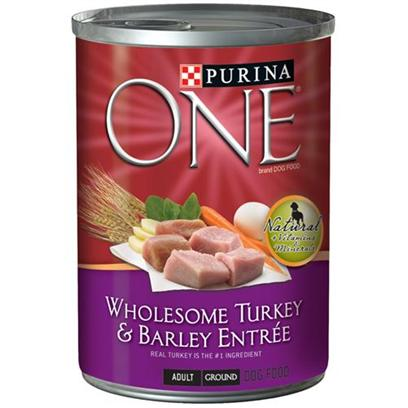 Nestle Purina Petcare Presents Purina One-Turkey and Barley Canned Dog Food 13oz Cans/Case of 12. Purina One Wholesome Entrées are Nutritionally Complete for Adult Dogs, so you can Feel Confident You're Providing the Nutrition your Dog Needs to Help Promote a Lifetime of Good Health, as Well as the Variety he Loves to Help Keep Him Happy and Satisfied. [27216]