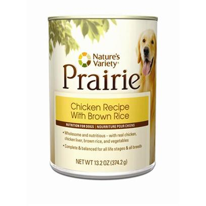 Nature's Variety Presents Nature's Variety Prairie Chicken Recipe with Brown Rice Canned Dog Food 13.2oz Cans/Case of 12. Nature's Variety Prairie- Chicken Recipe with Brown Rice Canned Dog Food. Wholesome &amp; Nutritious, with Real Chicken, Chicken Liver, Brown Rice, and Vegetables. [27220]