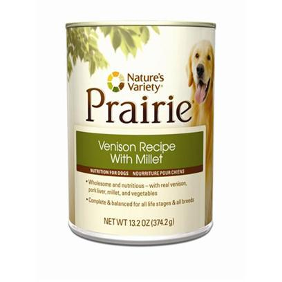 Nature's Variety Presents Nature's Variety Prairie Venison Recipe with Millet Canned Dog Food 13.2oz Cans-Case of 12. Nature's Variety Prairie Venison Recipe with Millet Canned Dog Food, a Natural and Holistic Nutrition for Dogs. [27223]