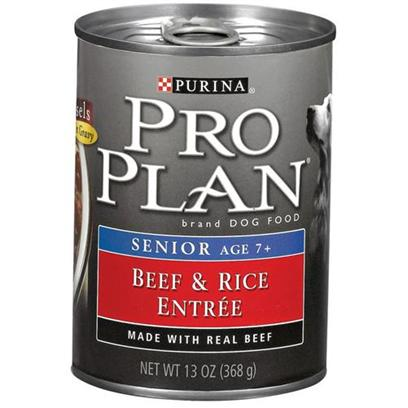 Nestle Purina Petcare Presents Purina Pro Plan-Beef and Rice Canned Food for Senior Dogs 13oz Cans/Case of 12. Made with Real Beef for Protein and Highly Digestible Rice Formulated for Dogs over Age 7 Balanced Nutrition Helps Support a Strong Immune System [27224]