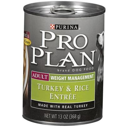 Nestle Purina Petcare Presents Purina Pro Plan Weight Management Turkey and Rice Canned Dog Food 13oz Cans/Case of 12. About Focus Adult Weight Management Turkey &amp; Rice Entre Morsels in Gravy Made with Real Turkey Feed to Overweight or Less Active Dogs 25% Less Fat than Pro Plan Savor Adult Chicken and Rice Entree Optimal Protein Level Helps Dogs Lose Fat, not Muscle Balanced Nutrition Helps Support a Strong Immune System [27226]