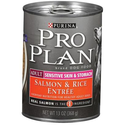 Nestle Purina Petcare Presents Purina Pro Plan Sensitive Skin and Stomach Canned Dog Food 13oz Cans/Casee of 12. Analysiscrude Protein (Min) - 8.0 %Crude Fat (Min) - 7.0 %Crude Fiber (Max) - 1.5 %Moisture (Max) - 78.0 %Linoleic Acid (Min) 0.60 % [27228]